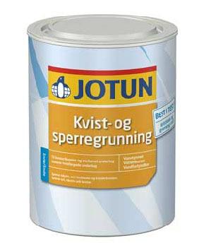 Jotun Kvist- og sperregrunning reduserer antallet arbeidsmomenter og gjør maling innendørs ett trinn enklere. Produktet finnes i 0,75 liters-, 3 liters- og 10 litersemballasje.
