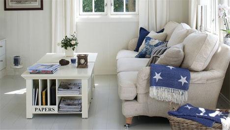 Lyst og sommerlig interiør i stuen   alt til bolig