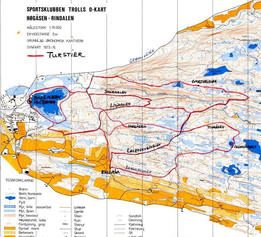turstier kart Kart over nye turstier   Rindal IL turstier kart