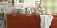 Lag en personlig kjøkkenvegg med fototapet av egne favorittoppskrifter