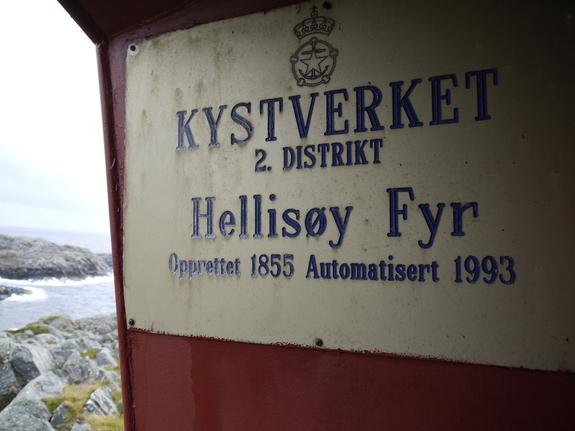 Skilt på Hellisøy Fyr ved Fedje