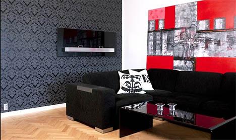 En anelse rødt tilfører temperament til den sobre skalaen av sort, hvitt og naturtoner.jpg