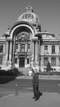 Outside the old National Bank in Bucharest, Romania