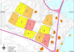 Kart over bustadfeltet Torvhaugane i målestokk 1:1500