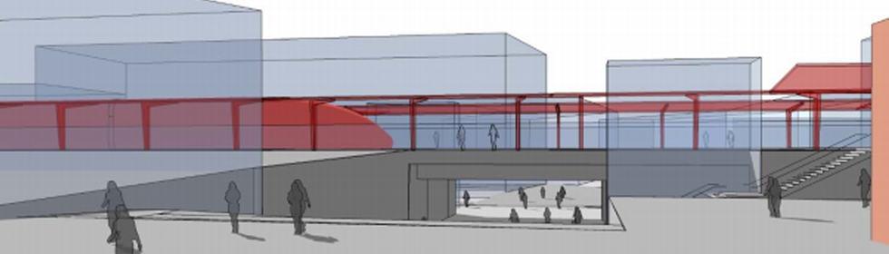 Ilustrasjon av jernbanestasjon i Brumunddal.