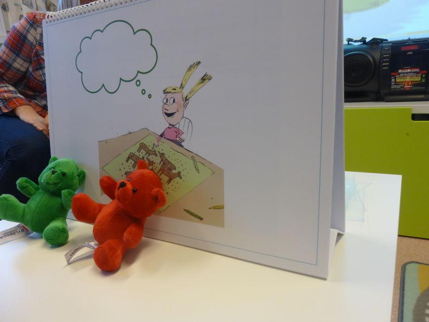 Her er Grønn og Rød bamsene