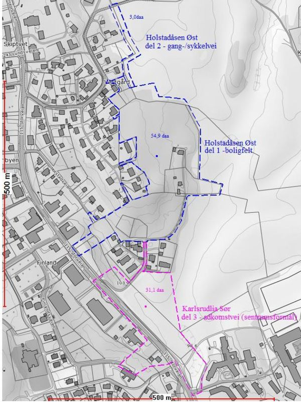 vedtak - utklipp situasjonskart holstadåsen øst