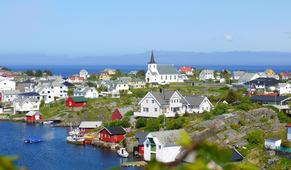 Landsbyen i havet sett frå Toskarhaugen