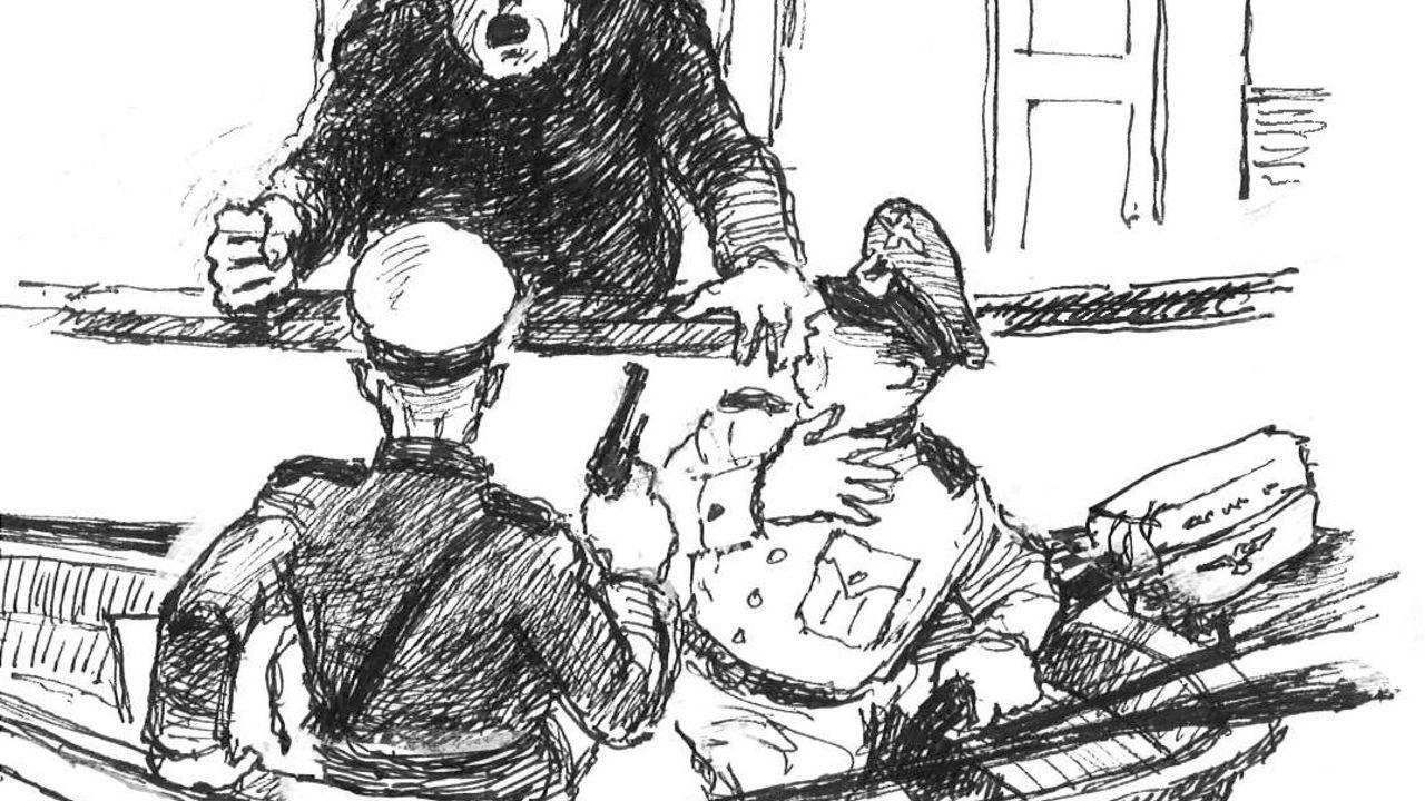 Olaf Andersen, strektegning 3, Hjalmar sier på sin beste tysk, ikke niks i helveta nokka tyskerta ombord i min båt