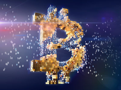 Numbers turning into golden bitcoin sign. Blockchain concept.