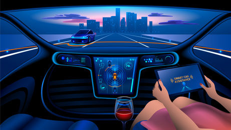 Autonomous Smart car interior. A woman rides a autonomous car in the city on the highway. The display shows information about the vehicle is moving, GPS, travel time, Assistance app. Future concept.
