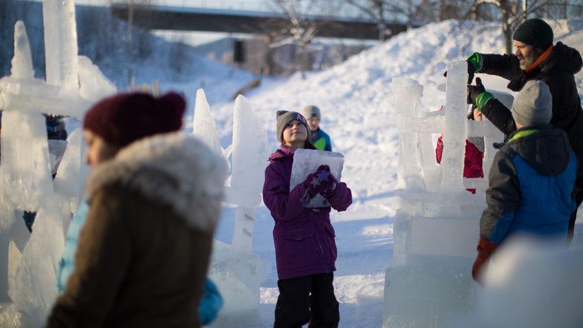 Elev som bærer is