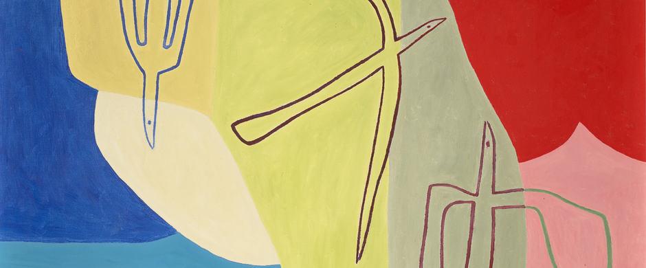 Charlotte Wankel - Komposisjon med fugler og seglbåt (1957)