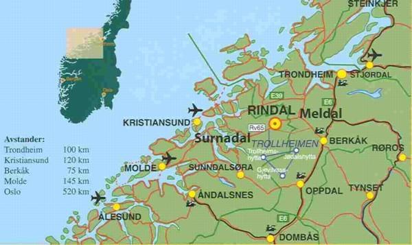 kart over surnadal Hvordan kommer du til Rindal?   Trollheimsporten kart over surnadal