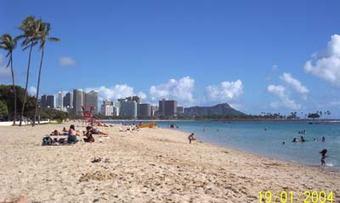 Ala Moana beach pluss Diamond head og Waikiki i bakgrunnen