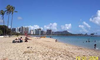 Ala Moana beach pluss Diamond head og Waikiki i bakgrunnen