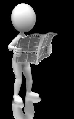 Figur som leser en avis