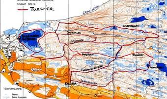 Kart turstier øst for sentrum