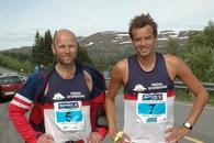 Startmenn lag 1 og lag 2 Bjørn Vonheim og Bjørn Sæther. Bjørn Vonheim er eldstemann på lag 1 med sine 50 år (fyller 50 i morgen!), godt gjort!