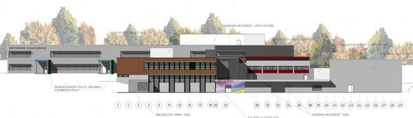 Skisse av nye Brøttum skole.