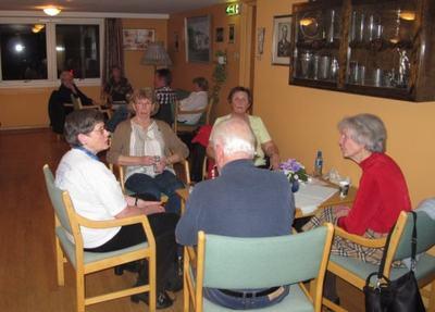 Den siste kaffepausen. Bjørg, Anne Marie, Evelyn, Åse og Bjørn