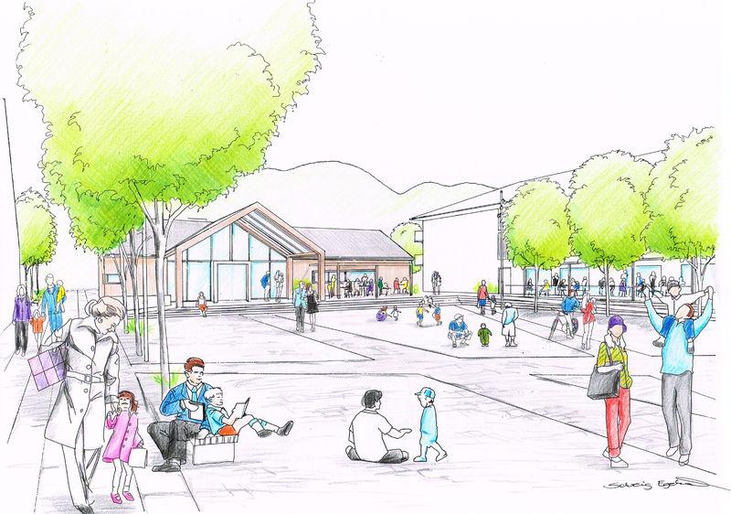 Skisser av det nye torget i Brumunddal.