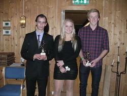 Toppscorer Bent Vidar og Årets spillere Maren og Anders.