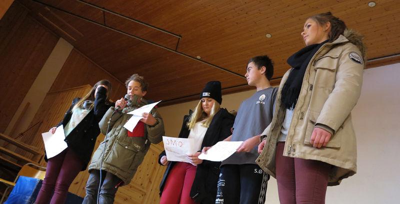 Elever ved Brumunddal ungdomsskole. Vinnerlaget i gründercampen.
