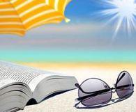 Illustrasjon av bok og solbriller