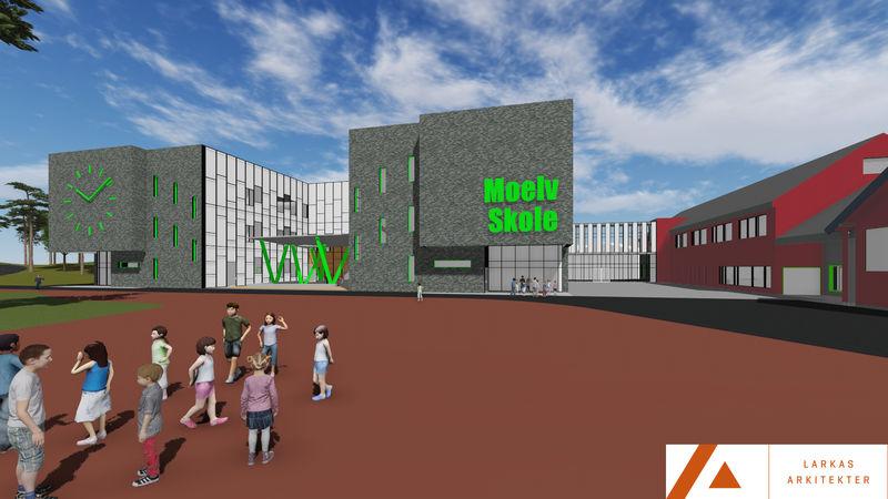 Skisse av nye Moelv skole, sett fra Skolevegen.