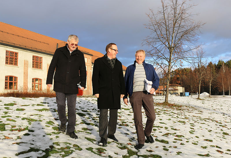 Per Even Johansen, Jørn Strand og Erik Slaatsveen i Garveriparken.