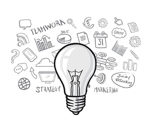 Light bulb with apps vector