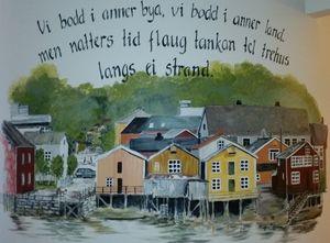 Utdrag fra Sjøgata malt av Bente Bertilsen