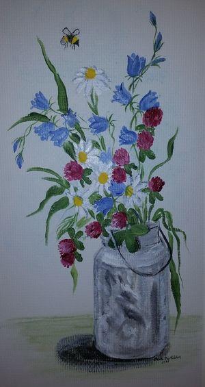 Sommerblomster, malt av Bente Bertelsen