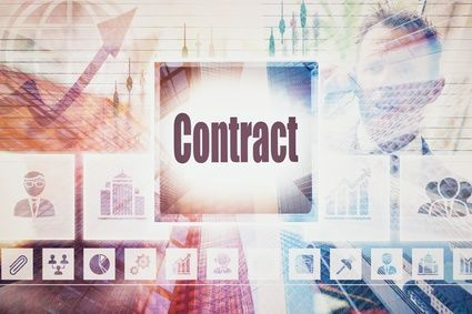 Business Contract concept button on a coloured background