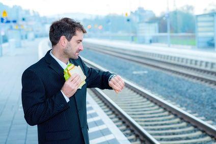 businessman on trip has a break