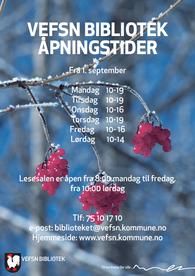 Åpningstider fra 1. september