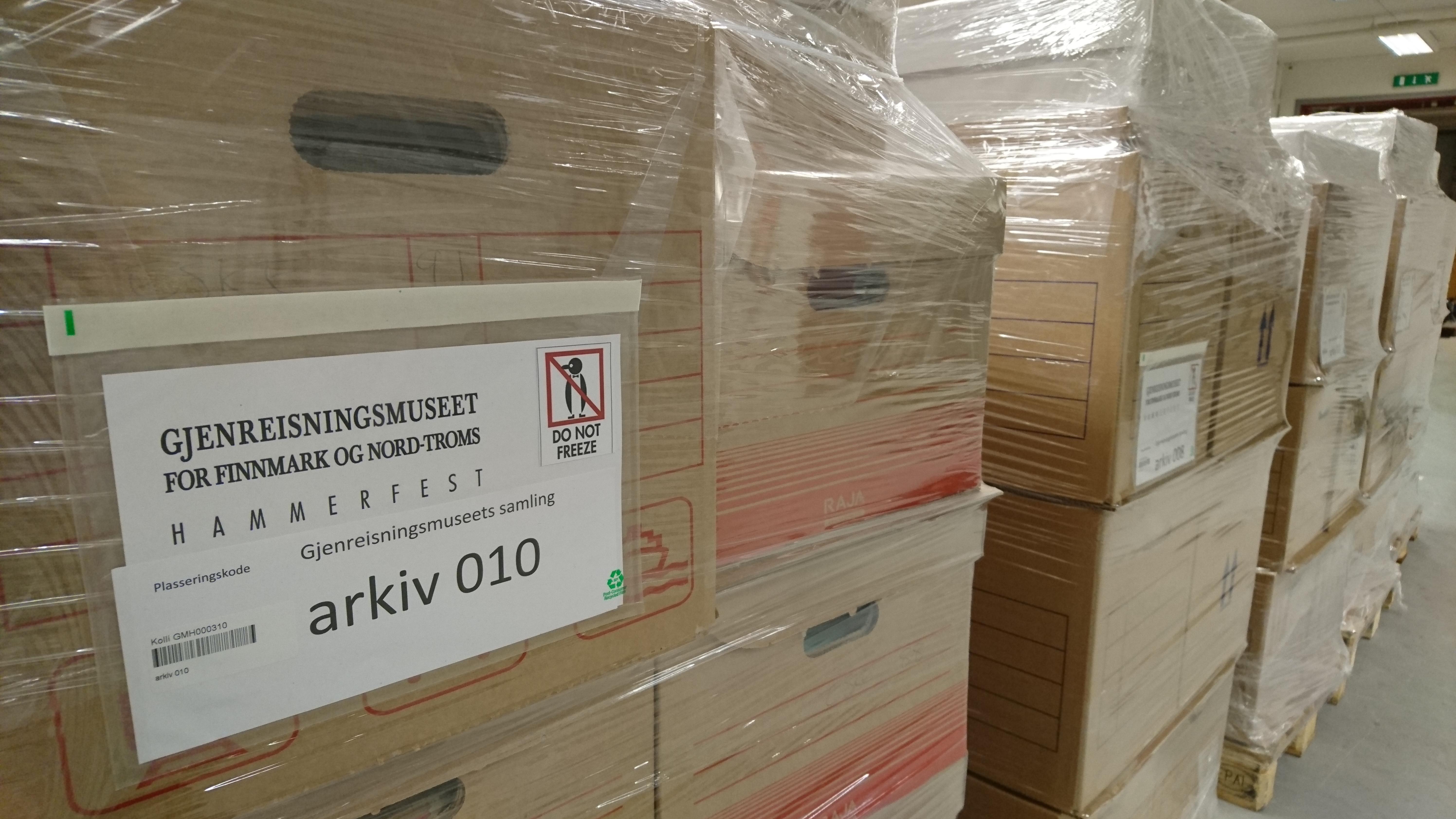 Arkivet er ferdig pakket og klar til transport