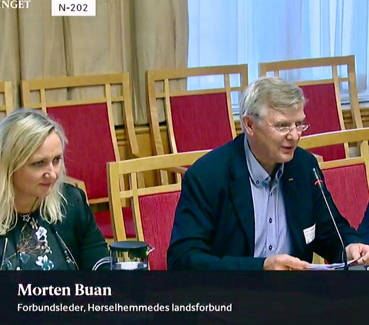 STORTINGSHØRINGER. HLF skal delta i seks høringer om statsbudsjettet for 2019, og starter med arbeids- og sosialkomiteen i dag. Forbundsleder Morten Buan og leder av HLFs interessepolitiske avdeling, Merete J. Orholm, er her avbildet på en høring ifjor.