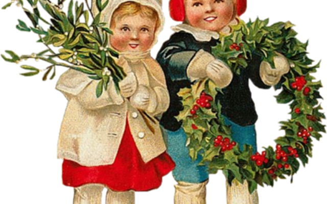 bilde av barn med julekranser