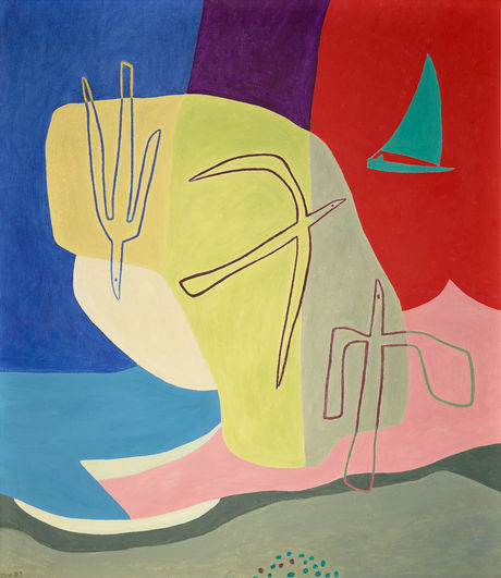 Charlotte Wankel - Komposisjon med fugler og seglbåt (1957)[1]