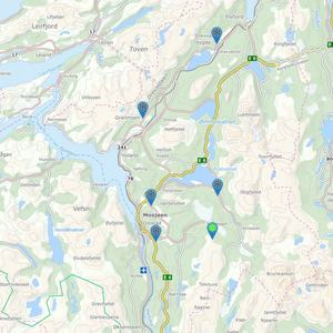 bildet viser kart over når ulike skiløyper i Vefsn ble kjørt