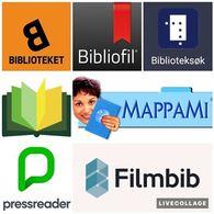 Bildecollage av logoer for bibliotekets digitale tjenester