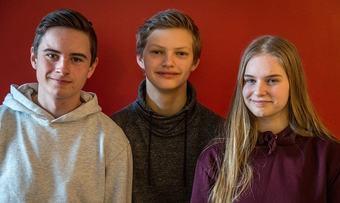 Surnadal ungdomsskule - Erik Kårvatn, Amund Pihl Strand og Synnøve Aukan Meisingset - Foto Roar Halten NRK