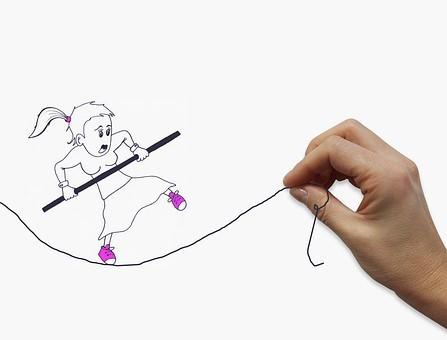 Illustrasjon dame på tråd