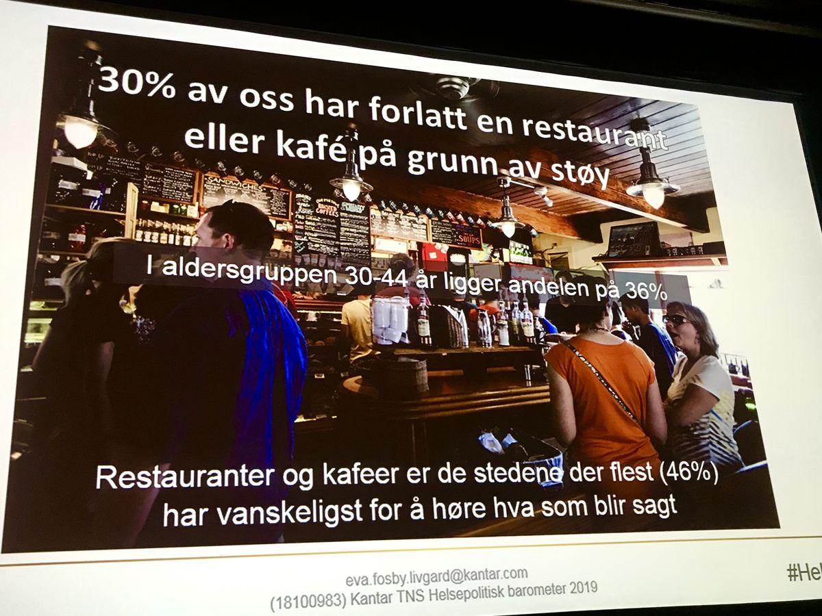 FOLKETS DOM. Restauranter og kafeer topper listen over steder hvor folk flest opplever mest støy, viser Kantars Helsepolitiske barometer for 2019. Foto Anja Hegg