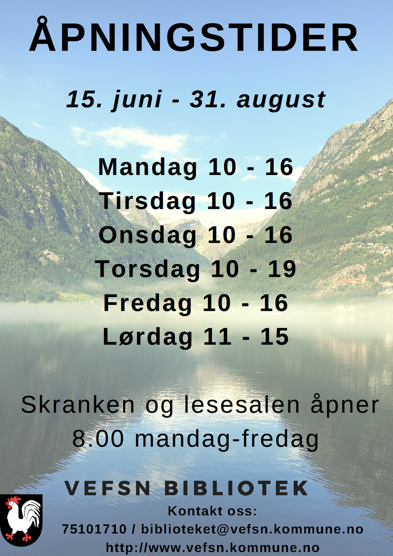 Åpningstider Vefsn bibliotek sommeren 2019