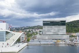 TELESLYNGER. Det nye Munchmuseet i Oslo åpner våren/sommeren neste år med teleslynger og digital skilting på plass. Foto NTB Scanpix