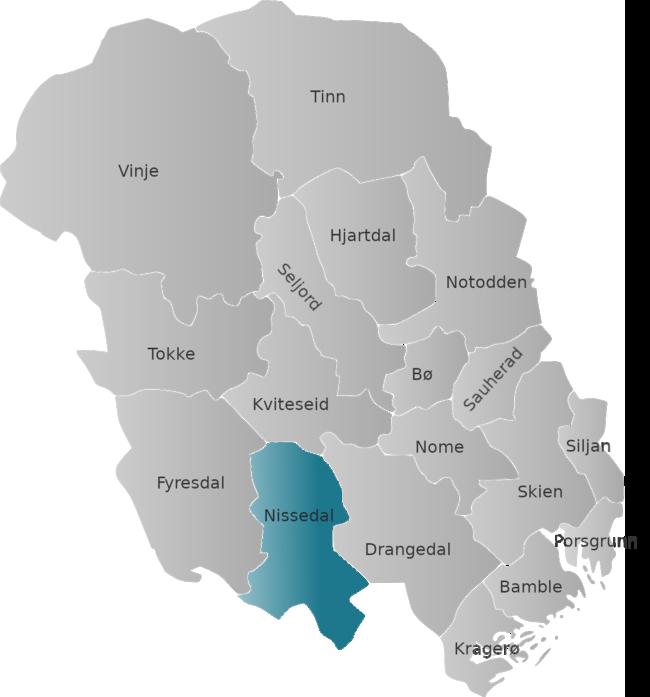Kart Nissedal-Telemark - blått markert