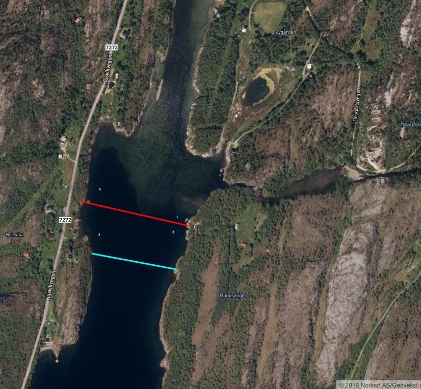 Grense elv sjø Halsan/Hestdalselva